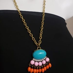 Jewelry - Turquoise Coloured Long Chain Pendant Necklace